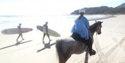 Horse Rider Meets Australian Surfers On The NSW Beach Ride