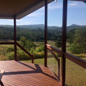Private Cabin Deck View Over Horse Riding Farm In Lorne Valley Near Port Macquarie NSW Hinterland