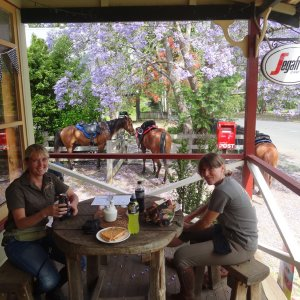 Lunch At The Hannam Vale Store En Route To Overnight Australian Hinterland Adventure Horse Trek Accommodation