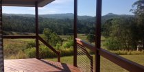 Private Cabin Deck View Over Horse Riding Farm